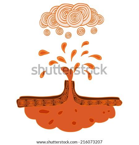 Hand drawn icon of volcano eruption. Vector illustration. - stock vector