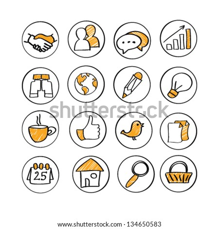 hand drawn icon set - stock vector