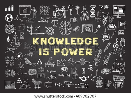 Hand drawn icons about KNOWLEDGE is power on chalkboard - stock vector