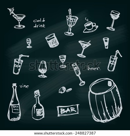 Hand drawn illustrated drinks set. EPS10 Vector - stock vector