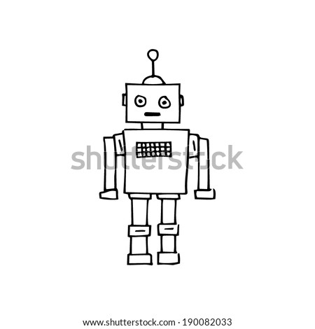 Hand drawn illustrated line art Illustration of a retro sketch robot - stock vector