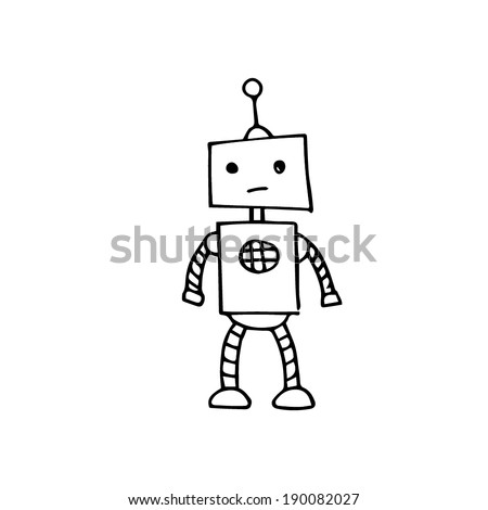 Hand drawn illustrated line art Illustration of a sad robot - sketch - stock vector