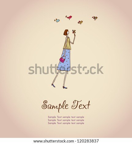 Hand drawn illustration and place for your text. Template with image of girl and birds for design and decoration greeting cards, scrapbooking - stock vector