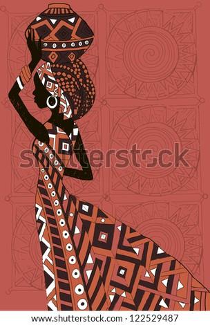 Hand drawn illustration  Beautiful black woman.African woman - stock vector