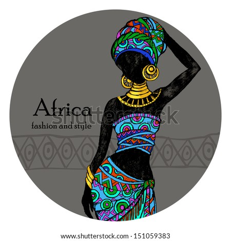 Afro Woman Drawing African Woman Stock Vector