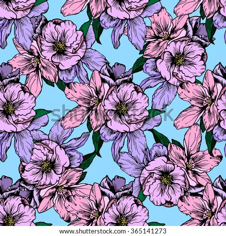 Hand drawn illustration. Delicate pink and purple flowers. Seamless pattern. - stock vector