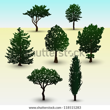 Hand drawn illustration depicting types of evergreen and deciduous trees - stock vector