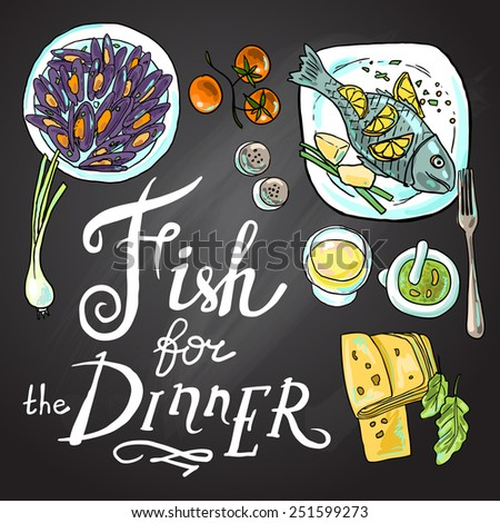 Hand drawn illustration fish for the dinner on the chalkboard - stock vector