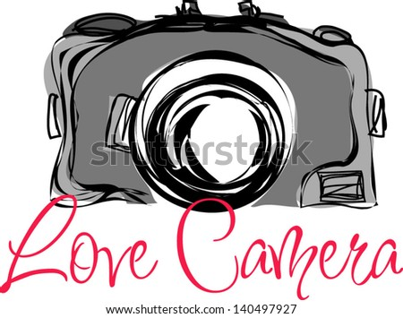Hand drawn illustration of a doodle vintage camera sketch - stock vector
