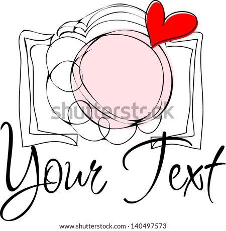 Hand drawn illustration of a photo camera doodle sketch drawing with love heart - stock vector
