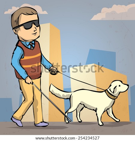 Hand drawn illustration of a Seeing Eye Dog Guiding a Blind Man - stock vector