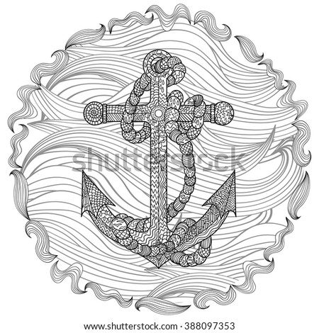 anchor coloring page for adults - zendoodle stock vectors vector clip art shutterstock