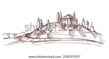 Hand drawn illustration of an Italian house on hill - stock vector