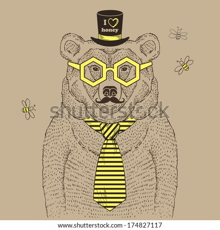 Hand drawn illustration of bear in tie and top hat, I love honey - stock vector