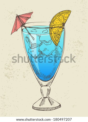 Hand drawn illustration of blue cocktail with ice. - stock vector