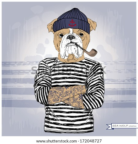 Hand drawn illustration of bulldog sailor - stock vector