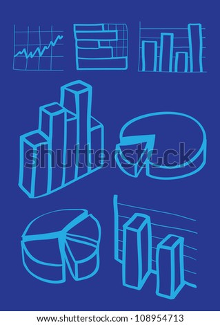 Hand drawn illustration of business charts icon - stock vector