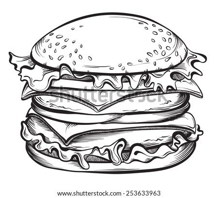 Hand drawn illustration of Cheeseburger or Hamburger. Sketch Vector illustration. - stock vector