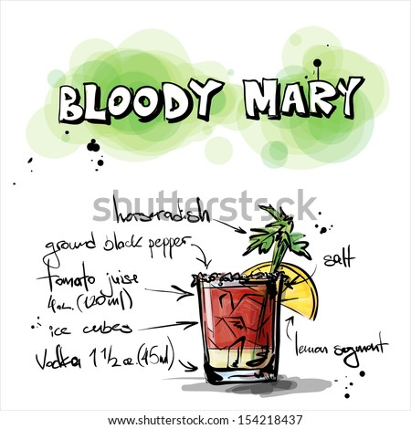 Hand drawn illustration of cocktail. BLOODY MARY. Vector collection. - stock vector