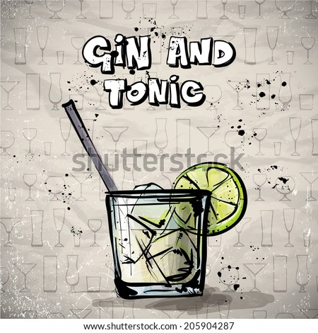 Hand drawn illustration of cocktail. GIN & TONIC. Vector collection. - stock vector