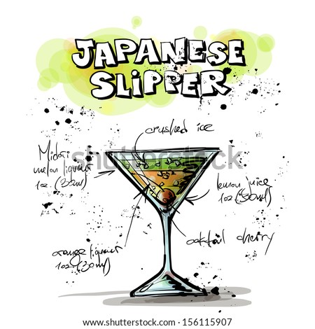 Hand drawn illustration of cocktail. JAPANESE SLIPPER. Vector collection. - stock vector