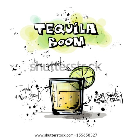 Hand drawn illustration of cocktail. TEQUILA BOOM. Vector collection. - stock vector