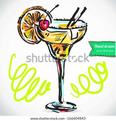 Hand drawn illustration of cocktail.. Vector collection in sketch.; isolated on background. - stock vector
