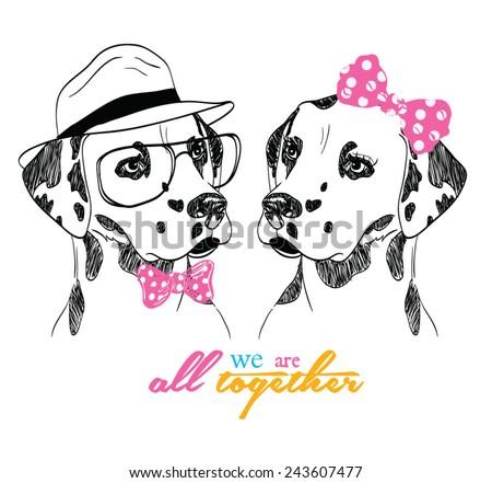 hand drawn illustration of dalmatian dog - stock vector