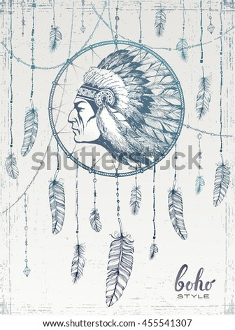 hand drawn illustration of dream catcher , in boho style - stock vector