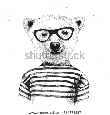 Hand drawn Illustration of dressed up hipster bear  in glasses - stock vector
