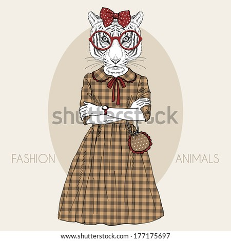 Hand drawn illustration of dressed up tiger girl in colors - stock vector
