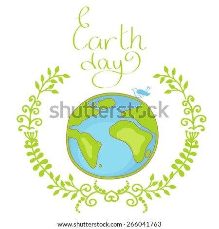 Hand drawn illustration of earth day. - stock vector
