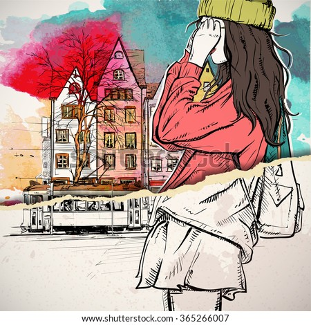 Hand drawn illustration of fashion girl in sketch style on the torn paper. Vector - stock vector