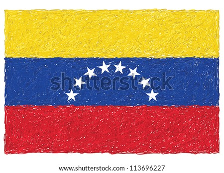 hand drawn illustration of flag of Venezuela - stock vector