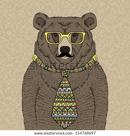 Hand drawn Illustration of Hipster Bear in Tie and Glasses  with Mustache - stock vector