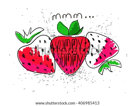 Hand drawn illustration of isolated colorful strawberries on a white background. Bright funny cartoon strawberry. - stock vector