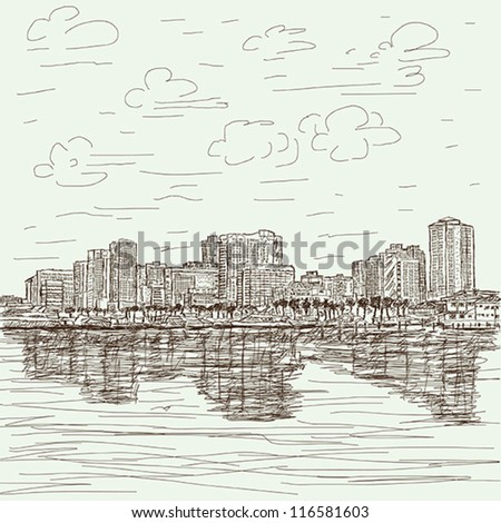 hand-drawn illustration of manila bay philippines cityscape. - stock vector