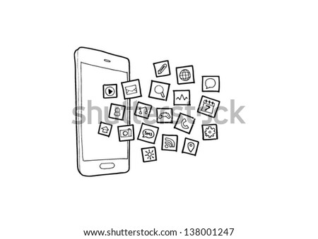 Hand drawn illustration of mobile phone application icons - stock vector