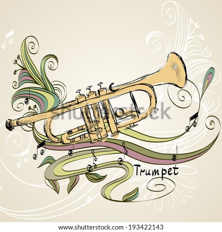 Hand drawn illustration of musical trumpet with chameleon. - stock vector