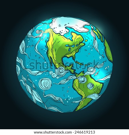hand drawn illustration of Planet Earth on a dark background - stock vector