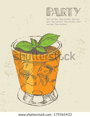 Hand drawn illustration of tropical cocktail. - stock vector