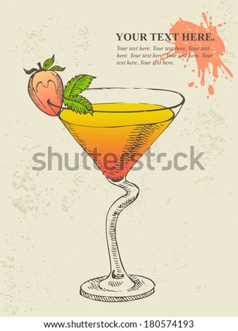 Hand drawn illustration of tropical cocktail with mint. - stock vector