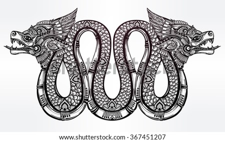 Hand drawn illustration of winged serpent. - stock vector