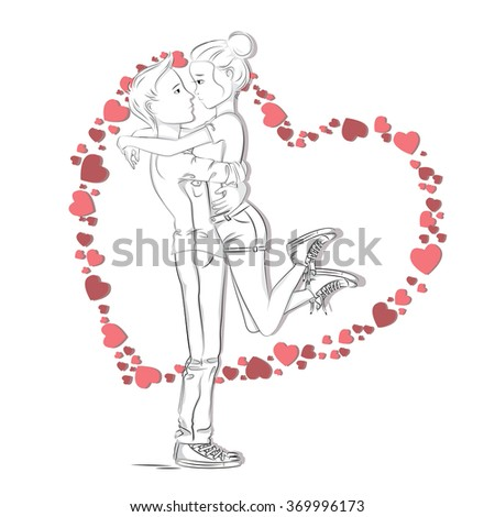 Hand drawn illustration of young cute couple.  - stock vector