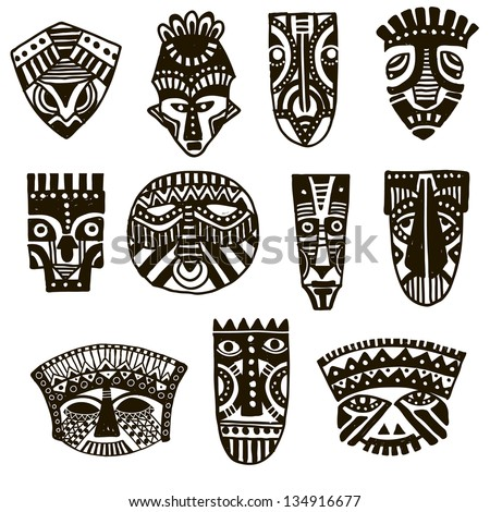 African Masks Drawings African Mask Stock Vector