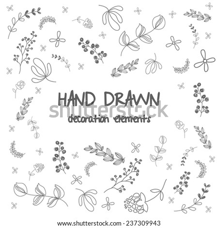 Hand drawn illustration set with flowers and floral design. vector illustration - stock vector