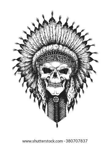 Hand drawn Indian chief skull wearing traditional feathered war bonnet. Vector illustration - stock vector