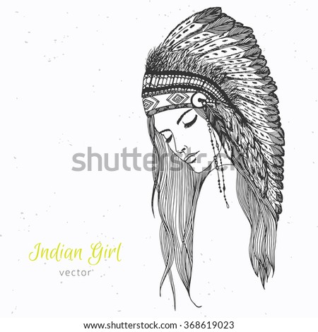 Hand drawn indian girl in war bonnet with feathers - stock vector