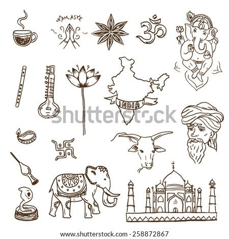 Hand drawn Indian symbols and landmarks doodle set - stock vector