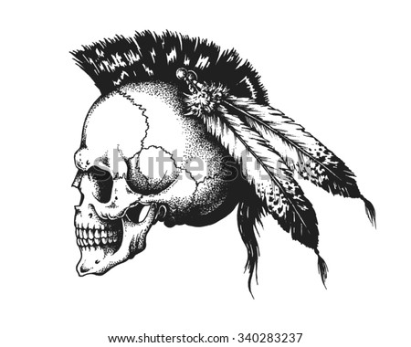 Hand drawn Indian warrior skull with mohawk. Vector illustration - stock vector
